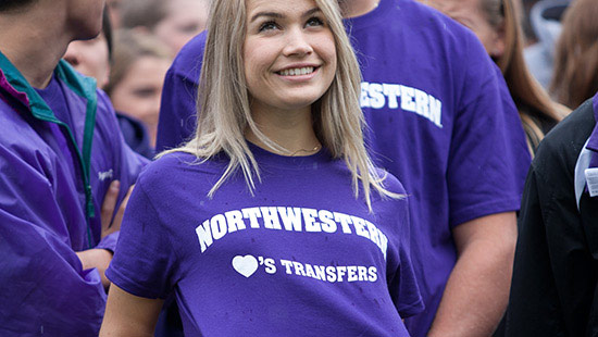 Student wearing a Northwestern loves Transfers t-shirt