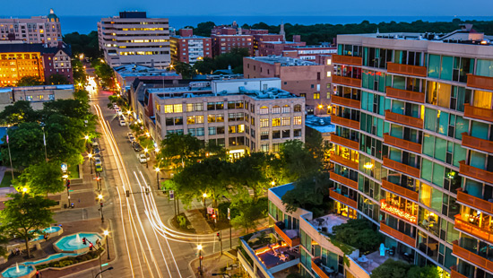 Downtown Evanston at dusk