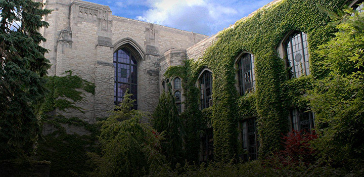 Picture of a building on campus covered in ivy